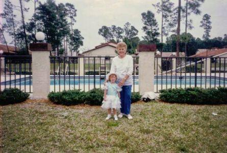 Amber And Great-grandma Rose At The Pool